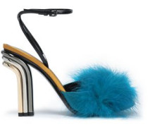 Feather-embellished leather and satin sandals
