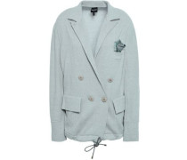 Double-breasted Wool And Cashmere-blend Jacquard Blazer Grey Green