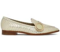 Embellished python loafers