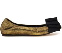 Woman Bow-embellished Metallic Cracked-leather Ballet Flats Gold