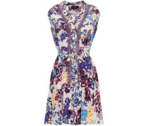 Belted Printed Silk Dress White
