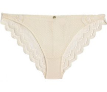 Scalloped stretch-lace low-rise briefs