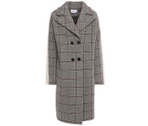 Woman Double-breasted Faux Fur-trimmed Prince Of Wales Checked Wool-blend Coat Black
