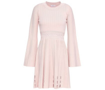 Pleated Ribbed And Pointelle-knit Mini Dress Baby Pink