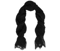 Lace-trimmed cashmere scarf