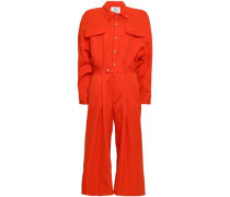 Cropped Cotton And Ramie-blend Jumpsuit Bright Orange