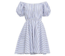 Off-the-shoulder Cotton-poplin Mini Dress Light Blue