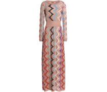 Metallic ribbed-knit maxi dress