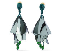 Gold-tone, Bead And Resin Clip Earrings Green Size --