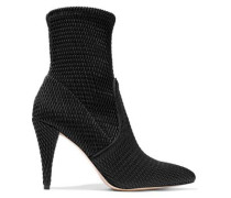 Hedde Woven Faux Leather Sock Boots Black