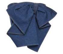 Cropped Strapless Bow-detailed Denim Top Mid Denim