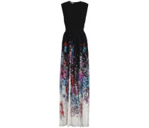 Pleated floral-print chiffon and crepe gown