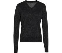 Metallic Cotton-blend Sweater Black