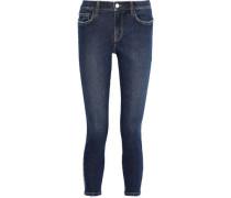 The Stiletto Cropped Frayed Mid-rise Skinny Jeans Dark Denim  4
