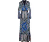 Embellished Printed Silk Crepe De Chine Maxi Dress Blue