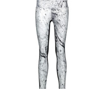 Emulate printed-paneled stretch leggings