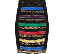 Embellished suede-paneled embroidered tulle skirt