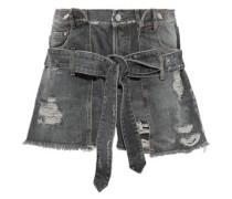 Woman Layered Distressed Denim Shorts Gray