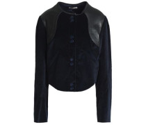 Leather-trimmed Cotton-blend Corduroy Jacket Midnight Blue