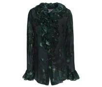 Ruffle-trimmed metallic silk-blend fil coupé shirt
