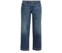 Woman Cropped Frayed Mid-rise Straight-leg Jeans Mid Denim