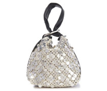 Woman Leather-trimmed Sequined Crocheted Clutch Silver