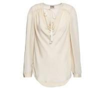 Draped silk crepe de chine blouse