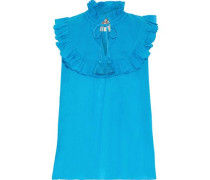 Lila Ruffle-trimmed Cotton-voile Blouse Blue