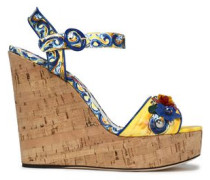Appliquéd Printed Patent-leather Wedge Sandals Pastel Yellow