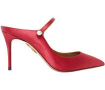 Nolita Faux Pearl-embellished Satin Mules Red