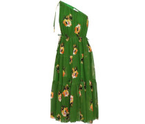One-shoulder Floral-print Silk-georgette Midi Dress Green Size 12