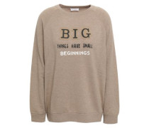Bead-embellished Printed Cashmere Sweater Sand