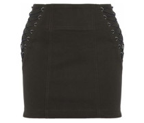 Lace-up cotton-blend twill mini skirt