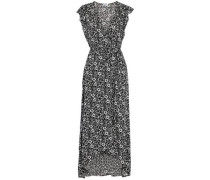 Asymmetric wrap-effect floral-print gauze maxi dress