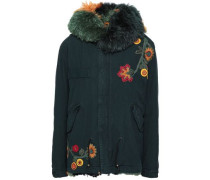 Shearling-trimmed Embroidered Cotton-canvas Hooded Coat Forest Green