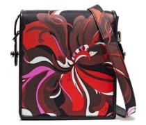 Leather-trimmed Printed Satin-twill Shoulder Bag Black Size --