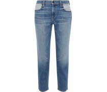 Ride cropped two-tone mid-rise straight-leg jeans