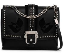 Studded Lizard-effect Leather Shoulder Bag Black Size --