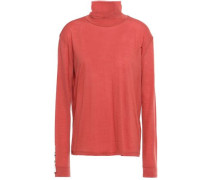 Bead-embellished Wool-blend Jersey Turtleneck Top Brick Size 0