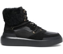 Faux Fur-trimmed Suede And Leather Ankle Boots Black