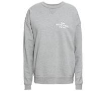 Printed Cotton-blend Fleece Sweatshirt Light Gray