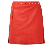 Studded leather mini wrap skirt