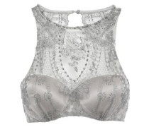 Embroidered Tulle And Satin Underwired Bra Silver   C