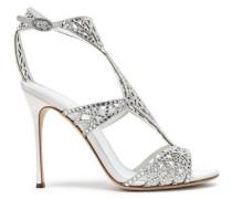 Crystal-embellished laser-cut satin and suede sandals