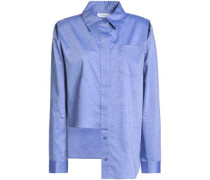 Cassie Asymmetric Cutout Cotton-poplin Shirt Light Blue Size 0