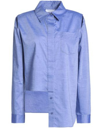 Asymmetric cutout cotton-chambray shirt