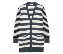 Etiopia Striped Silk And Cashmere-blend Cardigan Dark Gray