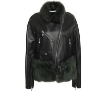 Shearling-trimmed Leather Biker Jacket Black