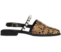 Faux pearl-embellished brocade point-toe flats