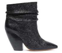 Patent Cracked-leather Ankle Boots